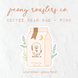 Peony Roasters Co. Pink Coffee Bean Bag - Glossy Vinyl