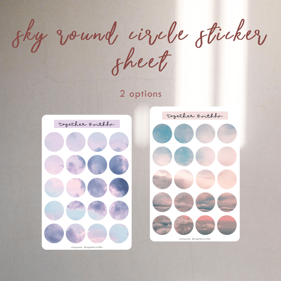 Sky Round Circle Sticker Sheet