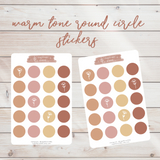 Minimal Warm Tone Round Circle Sticker Sheet