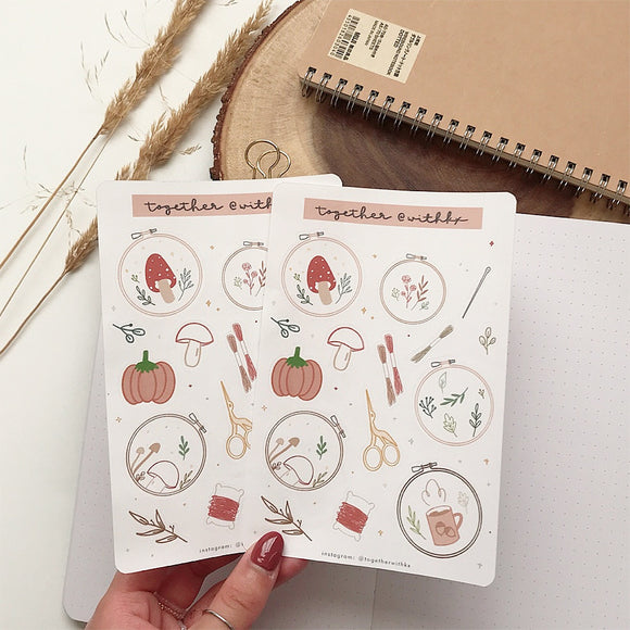 Fall Embroidery Hoop Sticker Sheet