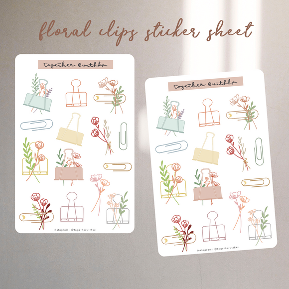 Floral Clips Sticker Sheet