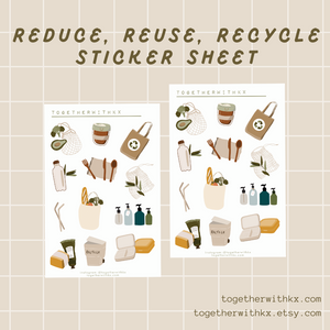 Reduce Reuse Recycle, Zero, Low Waste, Eco Sticker Sheet