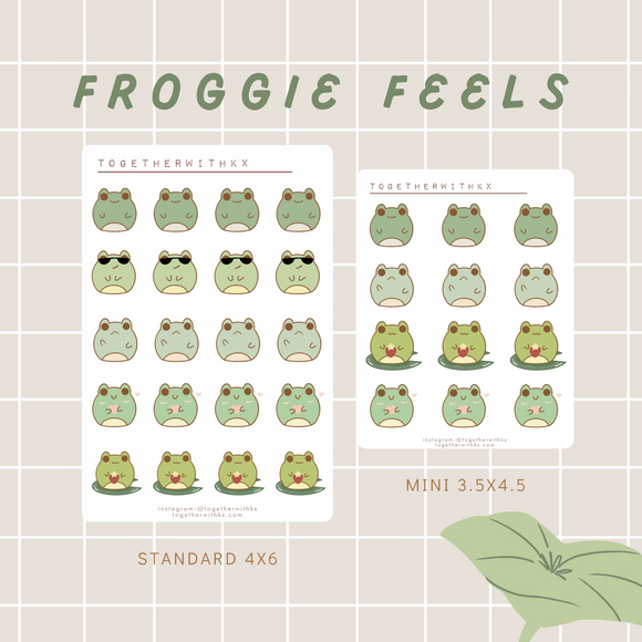 Froggie Feels Sticker Sheet - 2 Sizes
