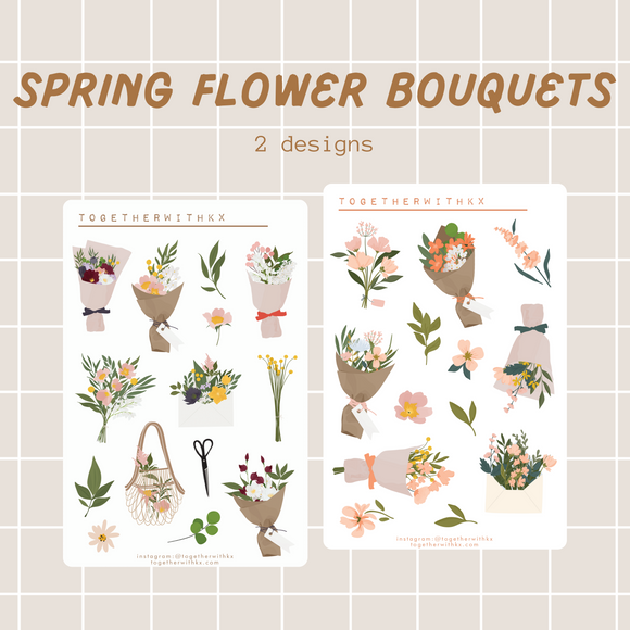 Spring Floral Bouquet Sticker Sheet - 2 Designs