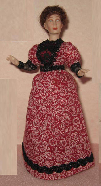 Lady Q doll in cotton print gown