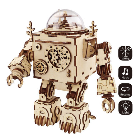 Steampunk Robot Gear Driven Musical Box