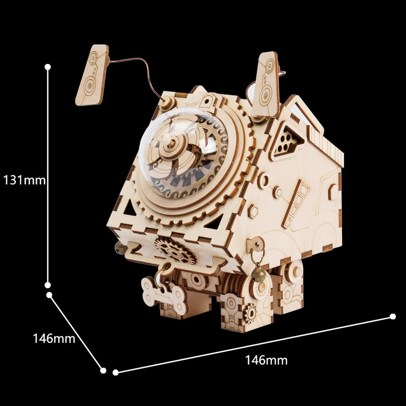 Dog Steampunk Music Box 3D Wooden Model with Gears