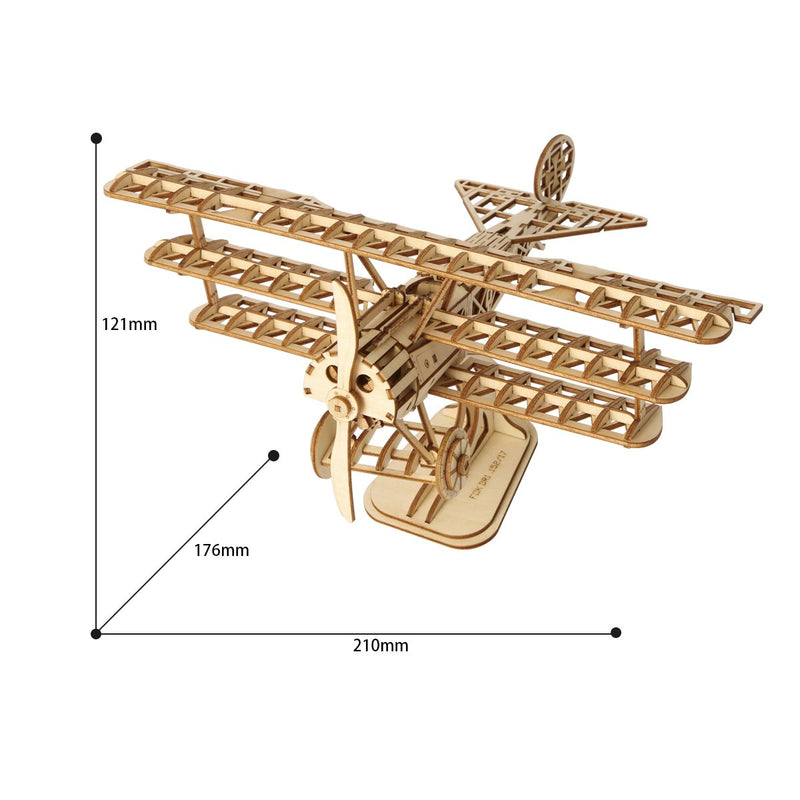 Build Me! Rustic 3D Model Biplane Airplane Laser Cut Puzzle