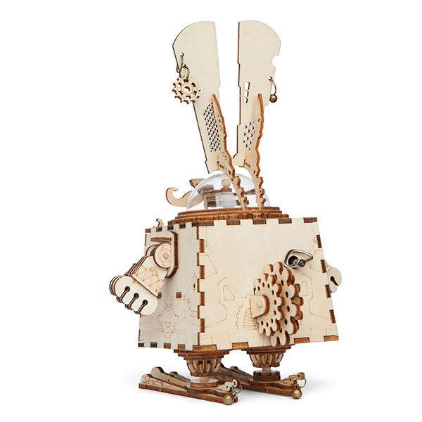 Bunny Wooden Geared Music Box - Great Musical DIY 3D Model and Puzzle
