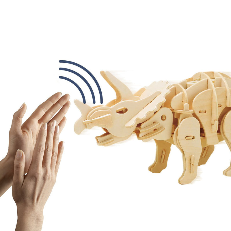 Sound Controlled 3D Triceratops Laser Cut Model Puzzle