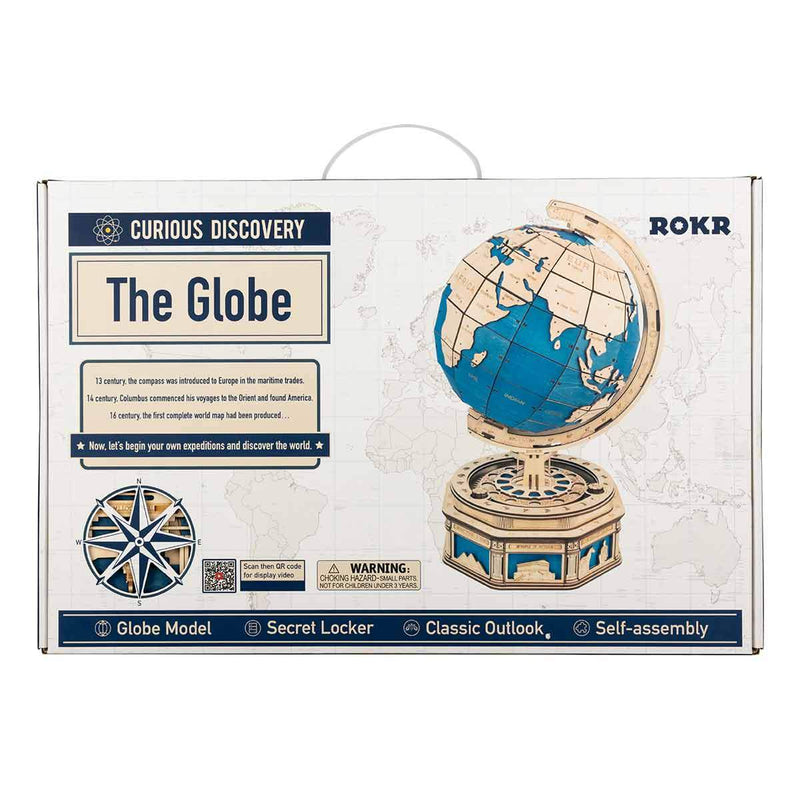 Build Me! Wooden Rotating Globe 3D Wooden Model with Secret Compartments