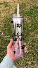 Load and play video in Gallery viewer, Dog Mom 16oz Clear Skinny Tumbler
