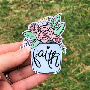 Faith Jar Bouquet Vinyl Sticker