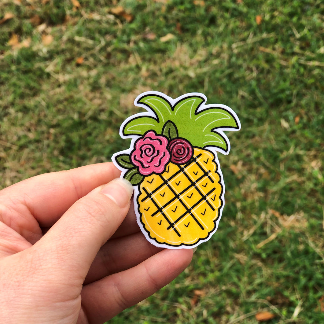 Pineapple with Flowers Vinyl Sticker