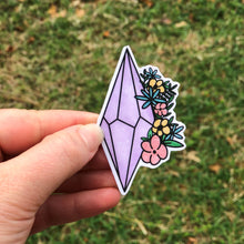 Load image into Gallery viewer, Amethyst Crystal With Flowers Vinyl Sticker