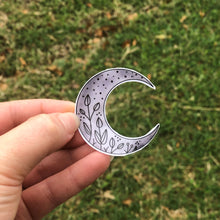 Load image into Gallery viewer, Floral Crescent Moon Vinyl Sticker