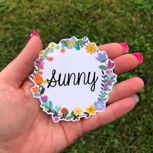 Personalized Vibrant Floral Wreath Vinyl Sticker