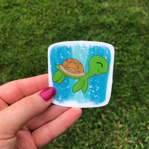 Sea Turtle with Blue Background Vinyl Sticker