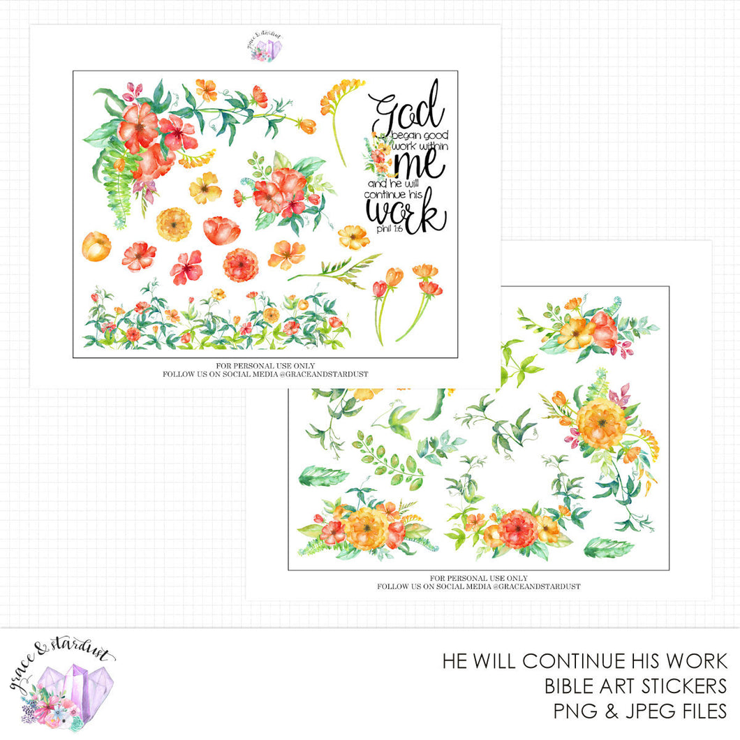 He Will Continue His Work Printable Bible Stickers
