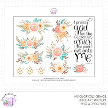 Load image into Gallery viewer, His Glorious Grace Printable Bible Stickers