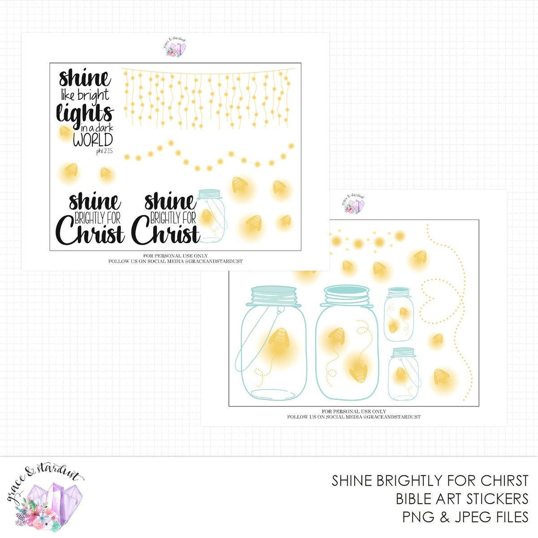 Shine Brightly for Christ Printable Bible Stickers