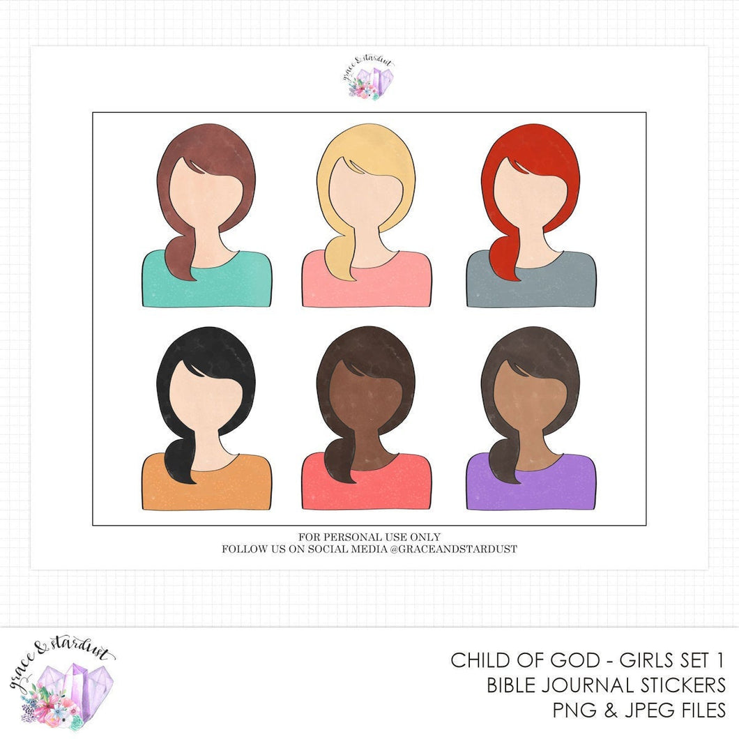 Child of God Set 1 Printable Doll Stickers