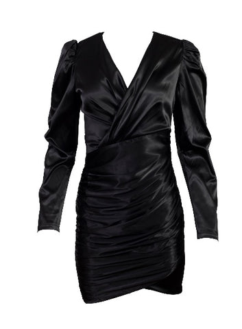shiny black midi dress with long sleeves, a v neck, and a ruffled effect