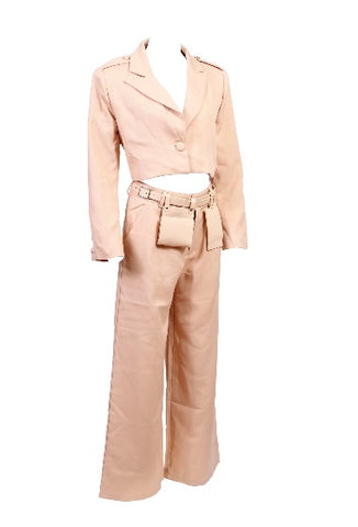 womens beige blazer and trouser co ord with a belt bag