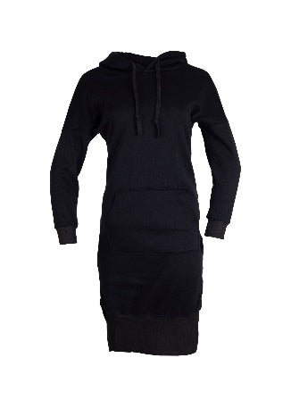 Front View of a black super longline hoodie dress