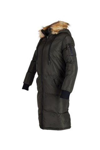 womens puffer coat faux fur longline