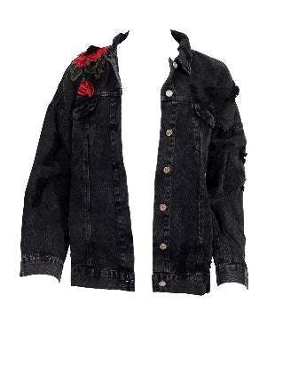 Front view of a black denim jacket with embroidered roses