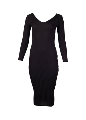 Black Full Length Ribbed Bodycon Dress with a V-neck for women from WearhouseOnline