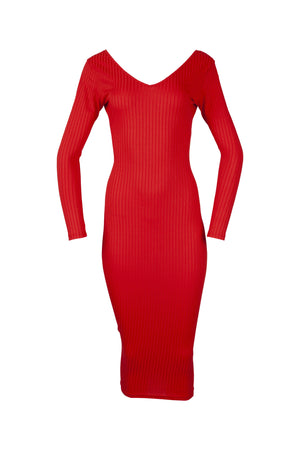 Red Full Length Ribbed Bodycon Dress with a V-neck for women from WearhouseOnline