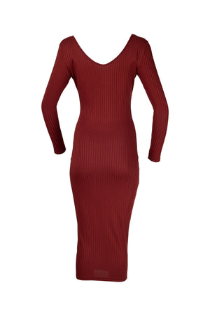 Brown Full Length Ribbed Bodycon Dress with a V-neck for women from WearhouseOnline