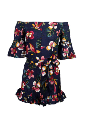 Front view of a navy floral print playsuit with 3/4 sleeves