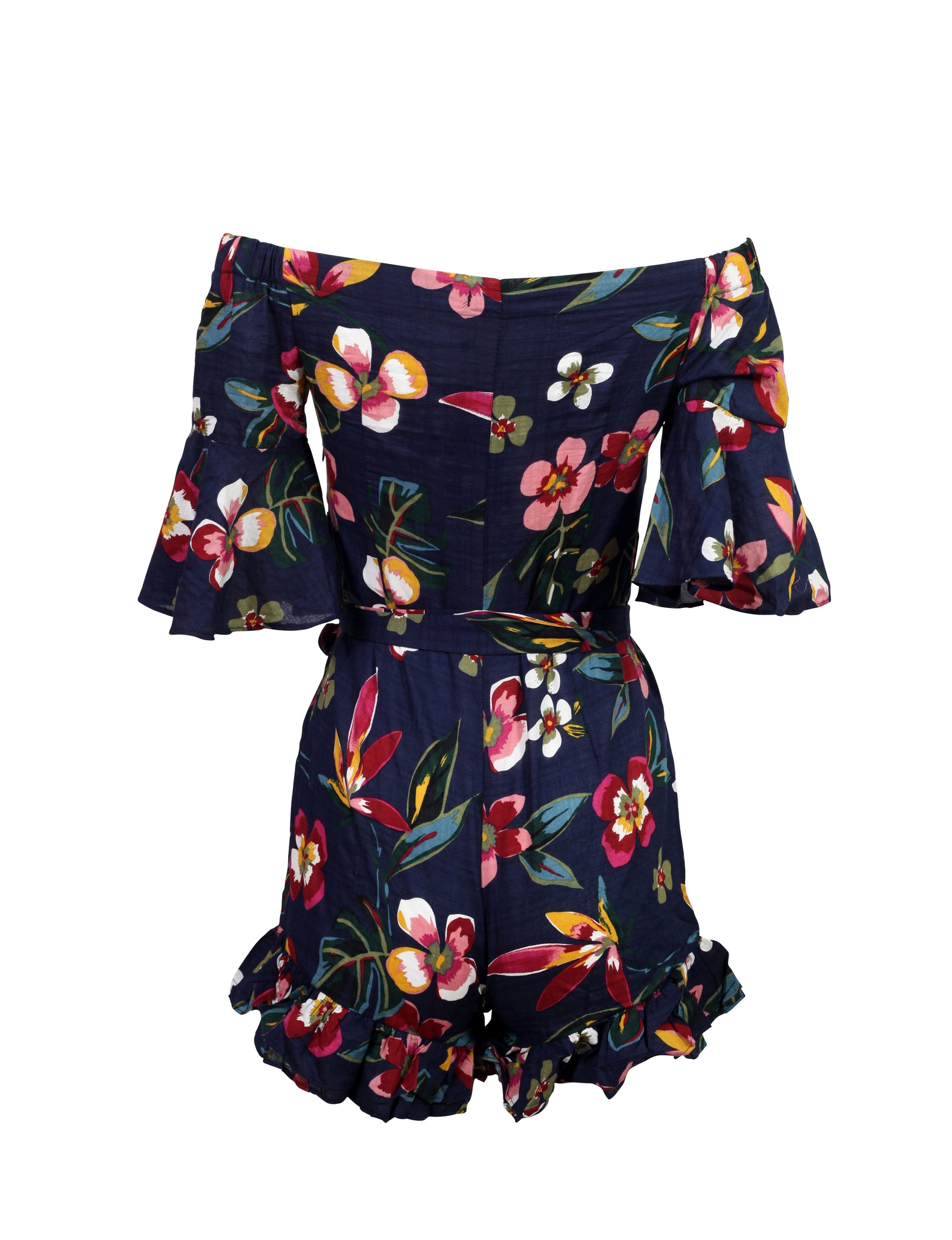 Rear view of a navy floral print playsuit with 3/4 sleeves