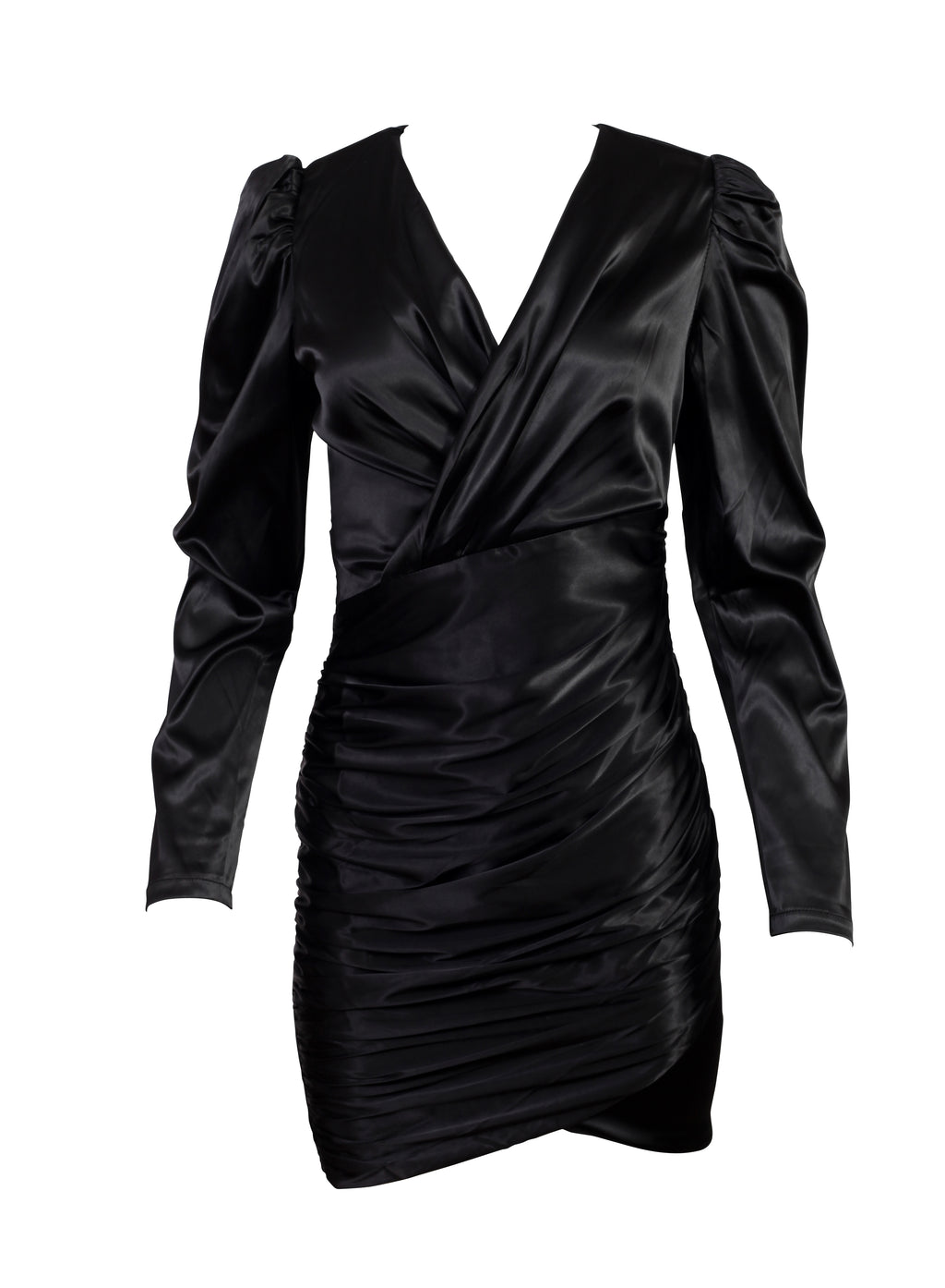 Front view of a v neck long sleeved wrap up dress in black