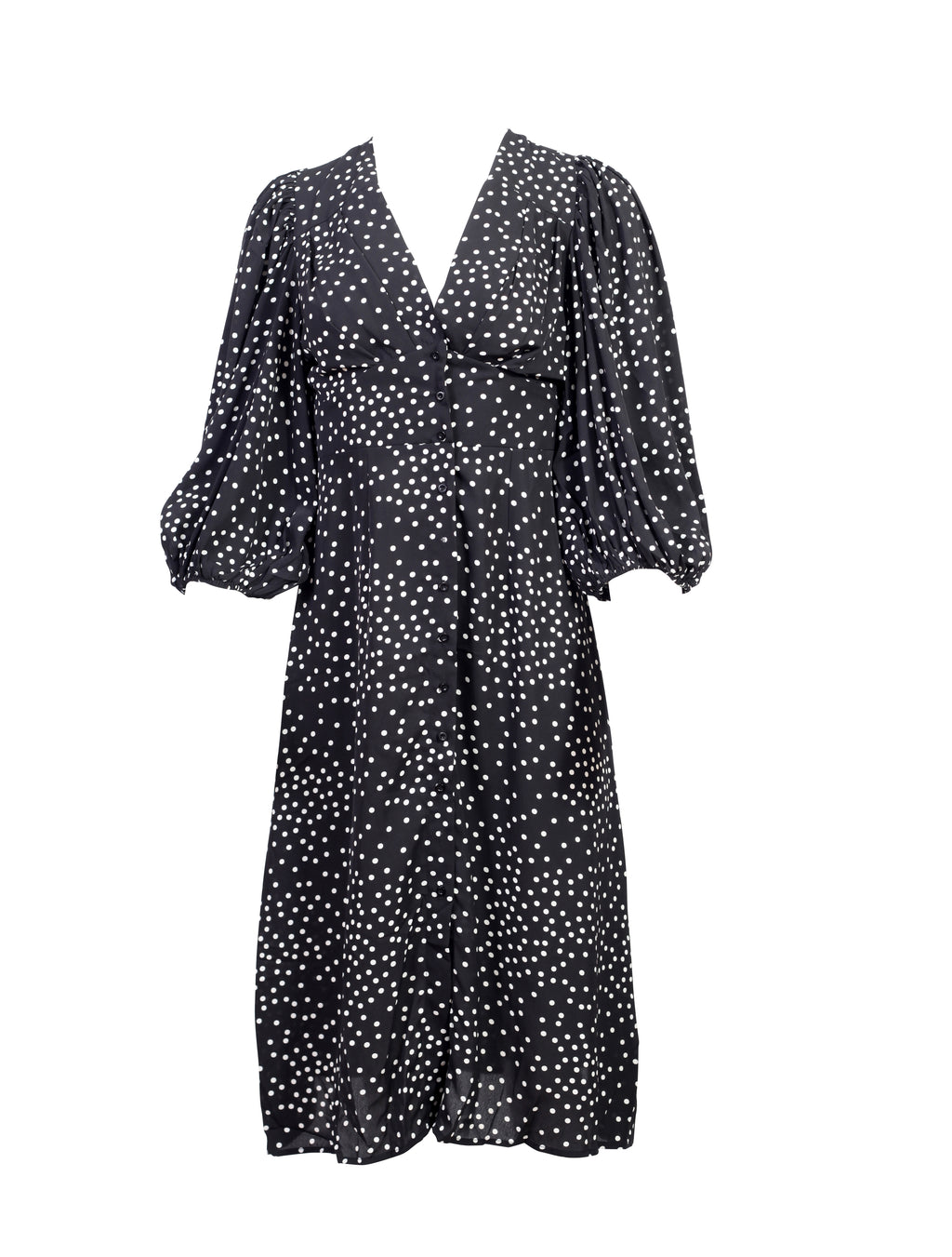 front view of a Black shirt dress with white polka dots