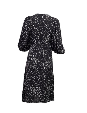 rear view of a Black shirt dress with white polka dots