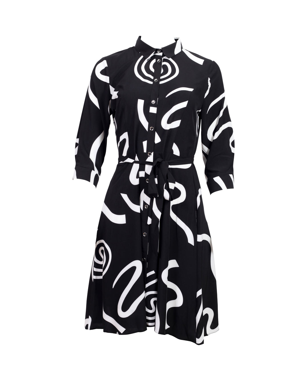Front view of a Black Shirt Dress with white swirls
