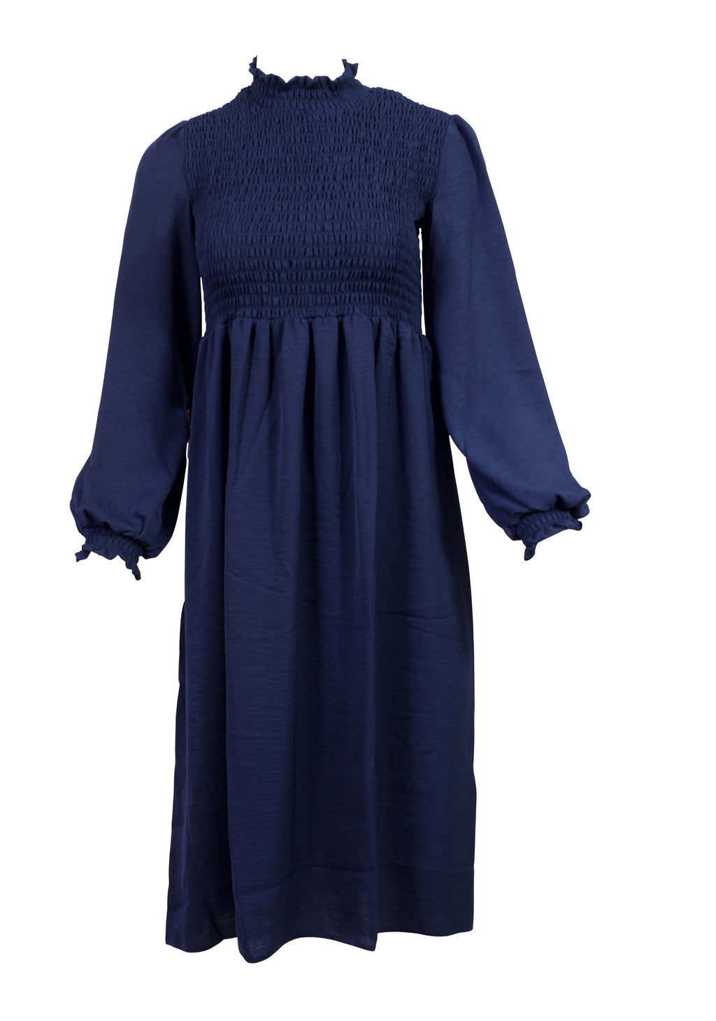 Front view of a navy shift dress with a ruffled bust