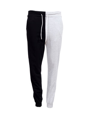 Front view of two tone black and grey joggers with a white tie up