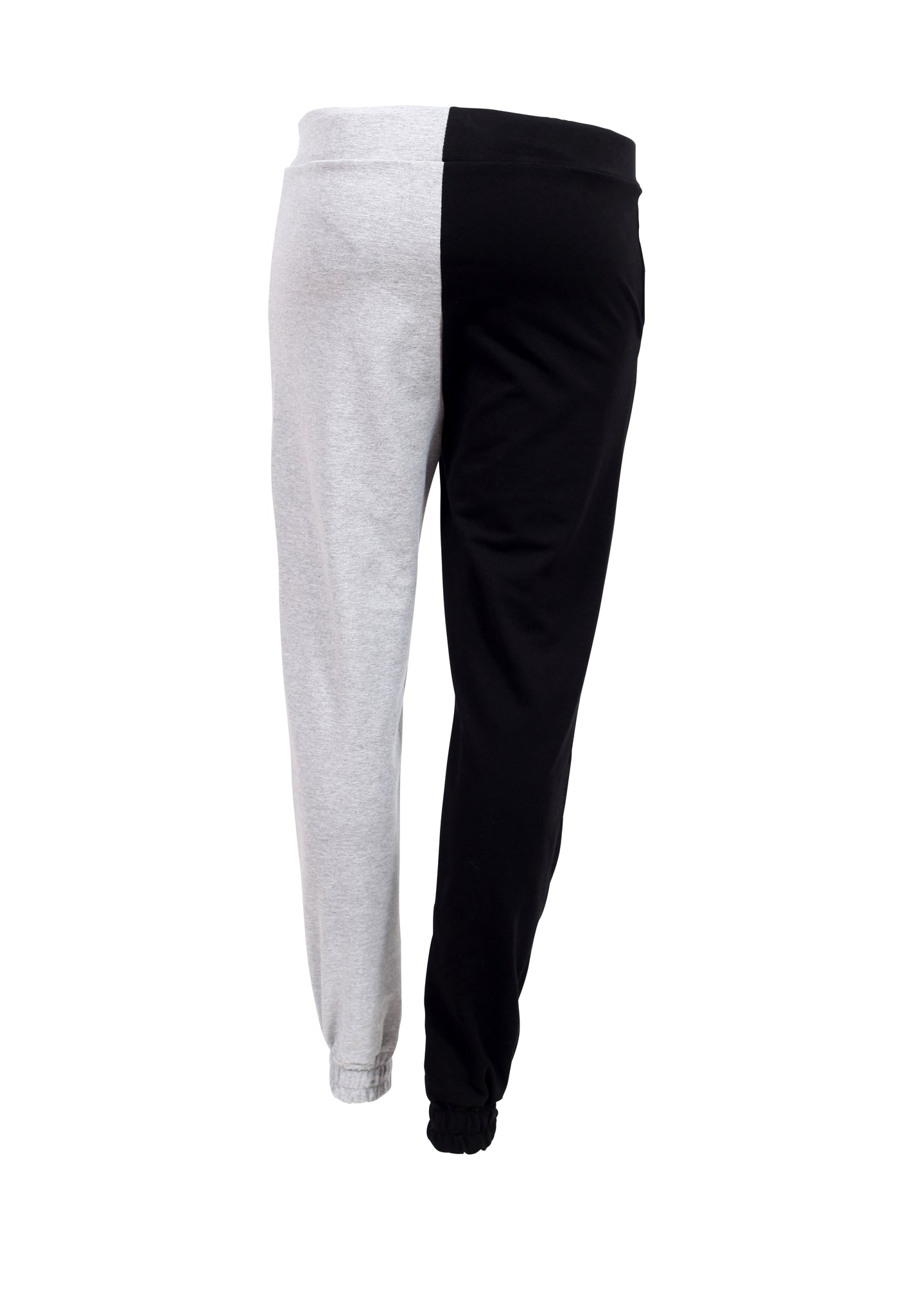 Rear view of two tone black and grey joggers with a white tie up