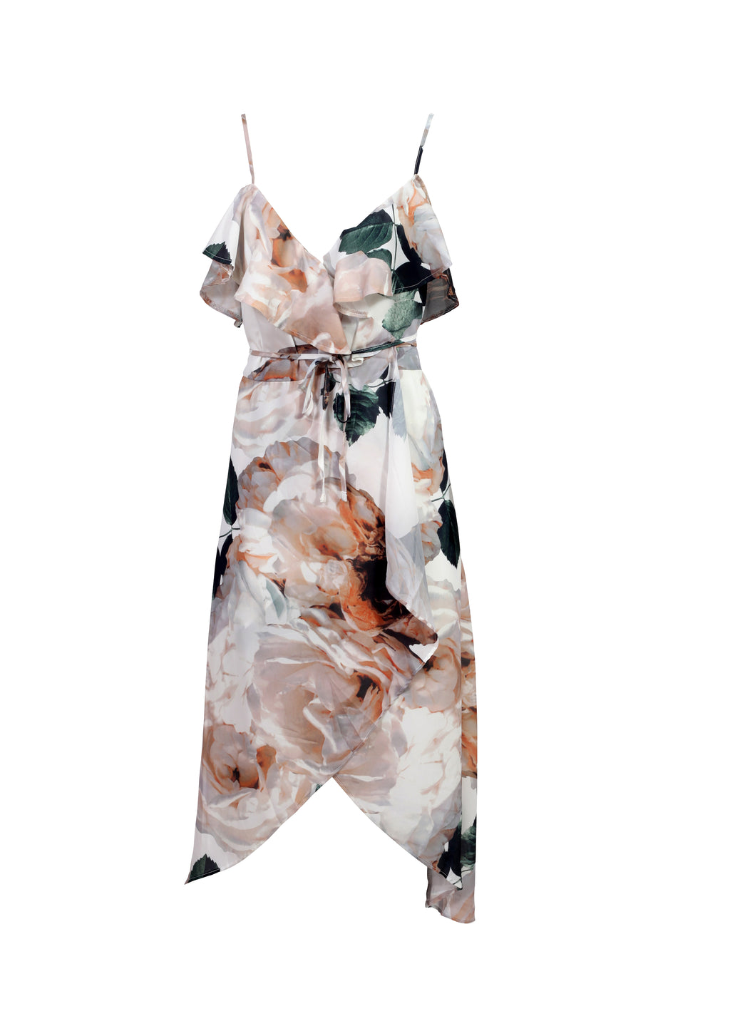 Front view of a white floral camisole maxi dress