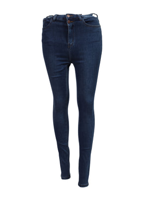 Front view of double buttoned High Waisted Skinny Jeans Womens