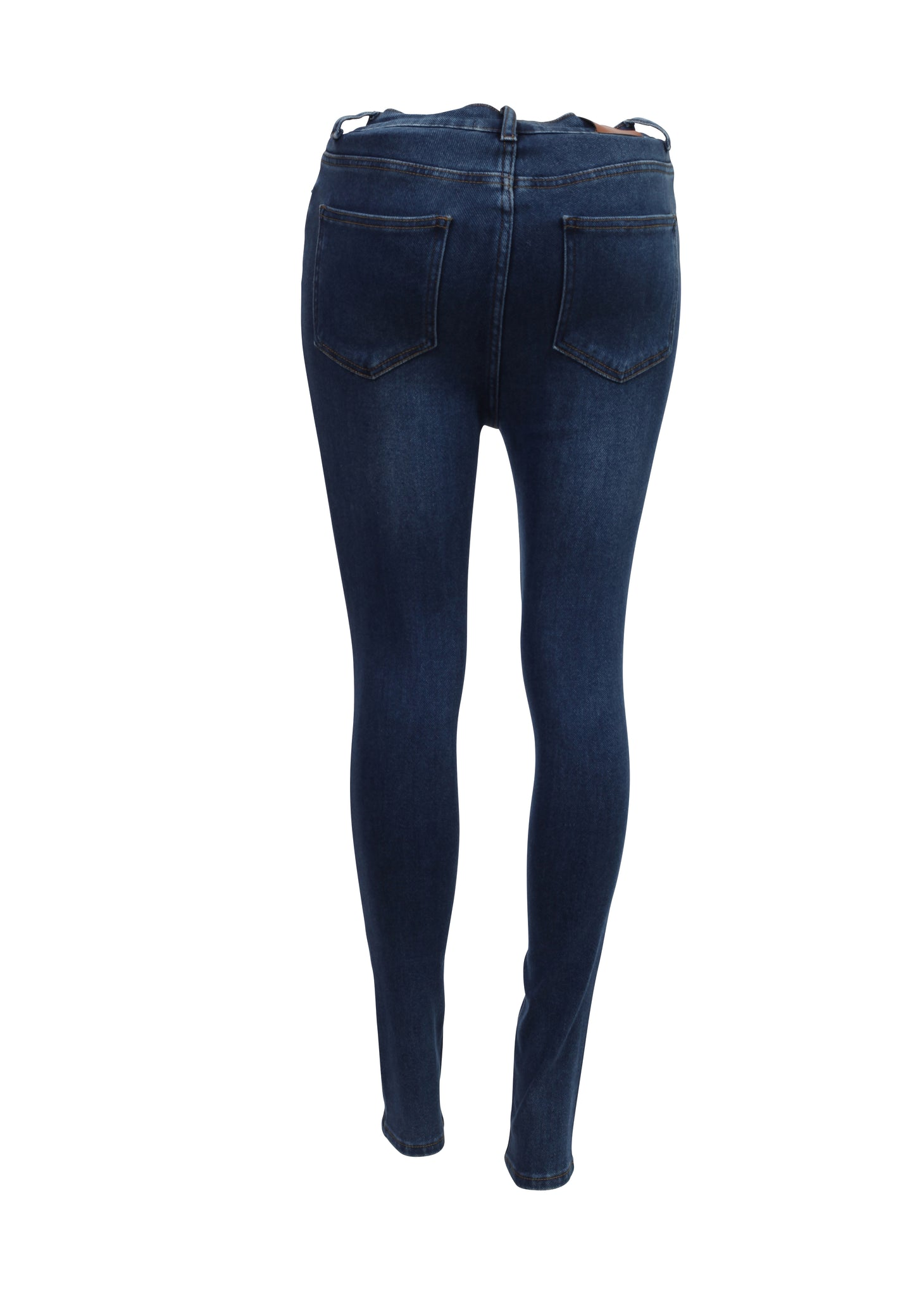 Rear view of double buttoned High Waisted Skinny Jeans Womens