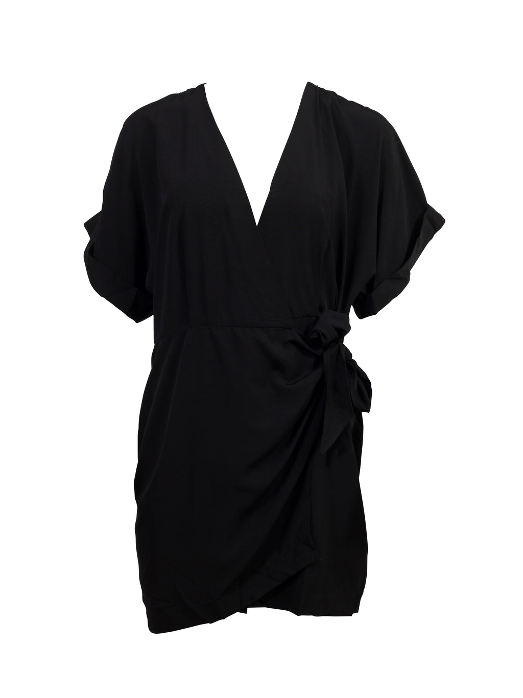 Front view of a black mini length wrap up dress with short sleeves and a v neck