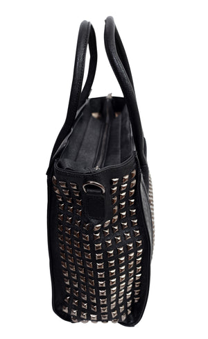 Side view of a black leather handbag with a studded design