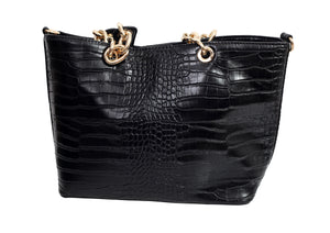 Front view of a croc effect handbag