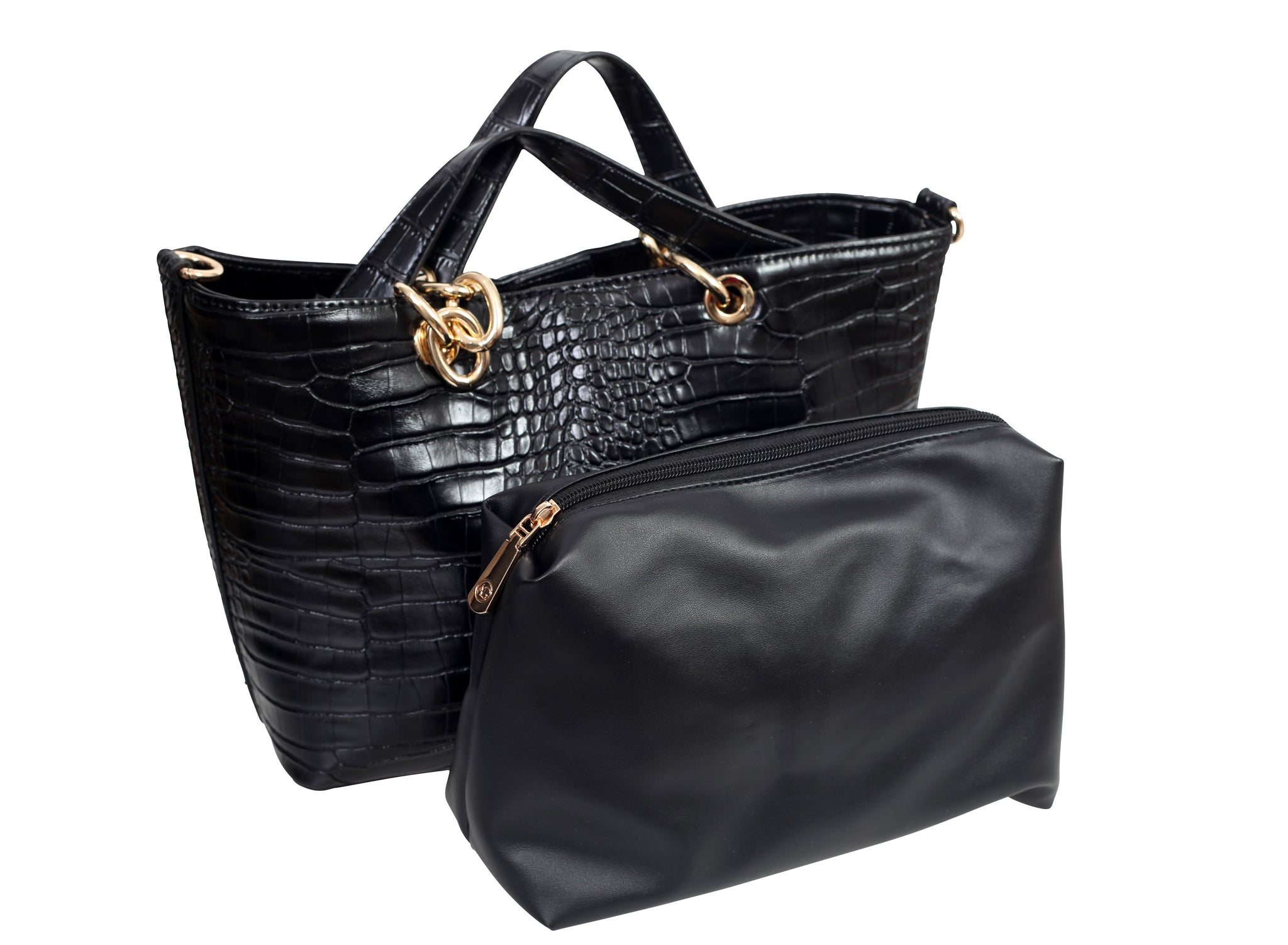 3/4 view of a croc effect handbag and a zipper pouch placed next to each other